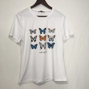 Shein Wild And Free Butterfly Tee